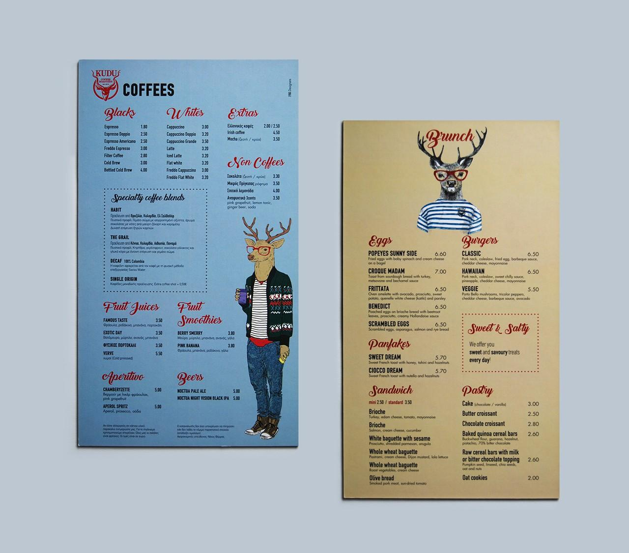 Kudu coffee roasters menu design