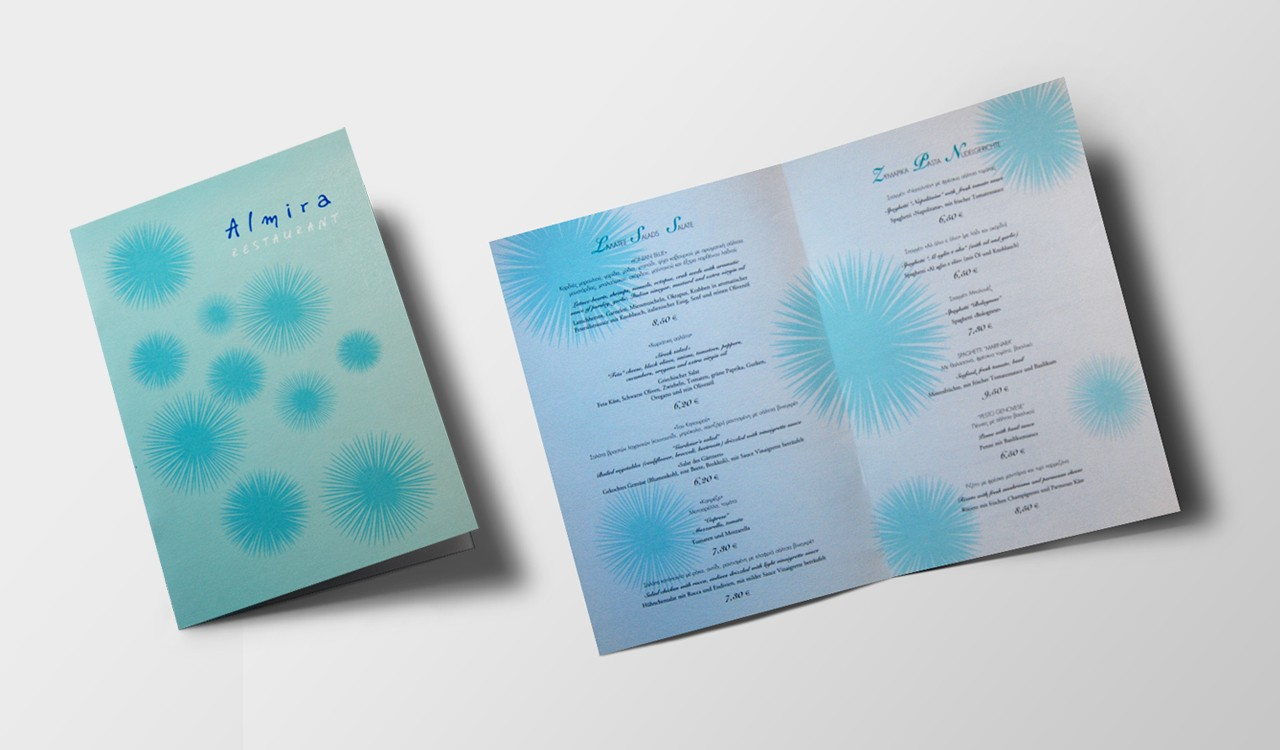 Almira restaurant menu design