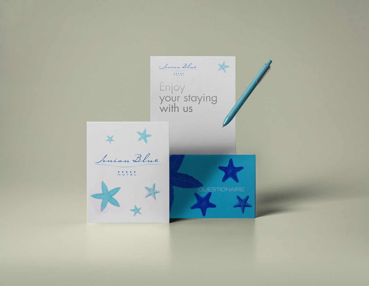 Ionian Blue Hotel stationery design